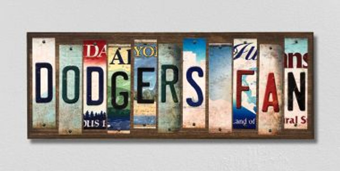 Dodgers Fan Wholesale Novelty License Plate Strips Wood Sign WS-391