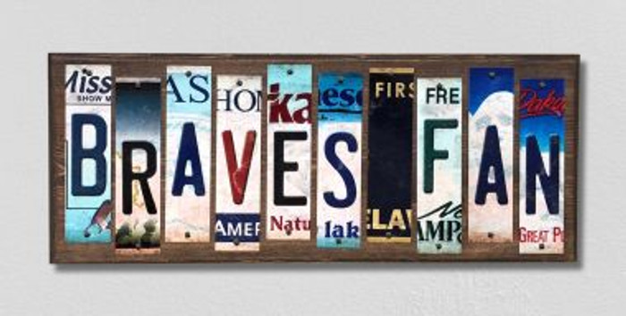 Braves Fan Wholesale Novelty License Plate Strips Wood Sign WS-398