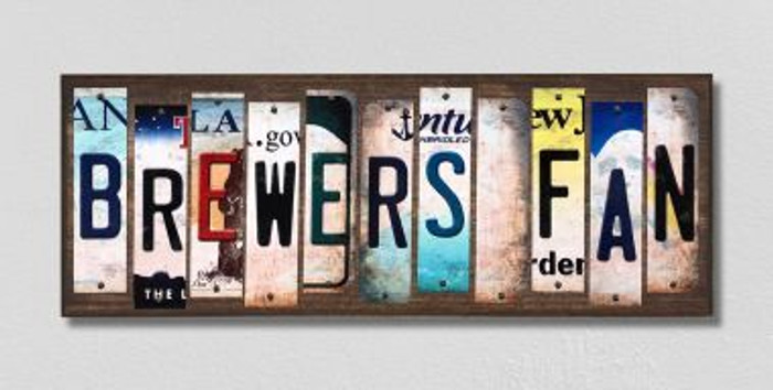 Brewers Fan Wholesale Novelty License Plate Strips Wood Sign WS-403