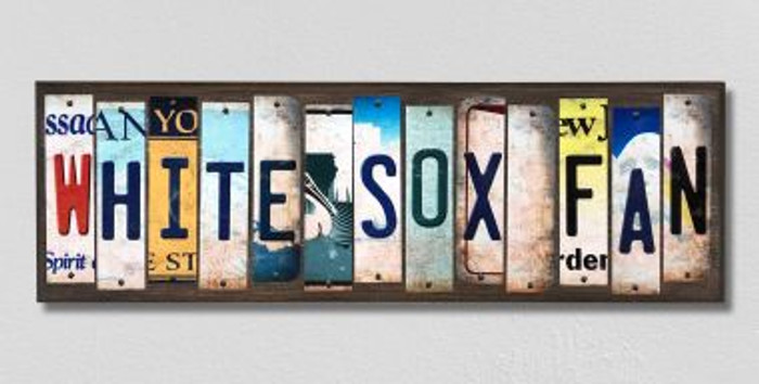 White Sox Fan Wholesale Novelty License Plate Strips Wood Sign WS-404