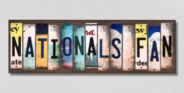 Nationals Fan Wholesale Novelty License Plate Strips Wood Sign WS-411