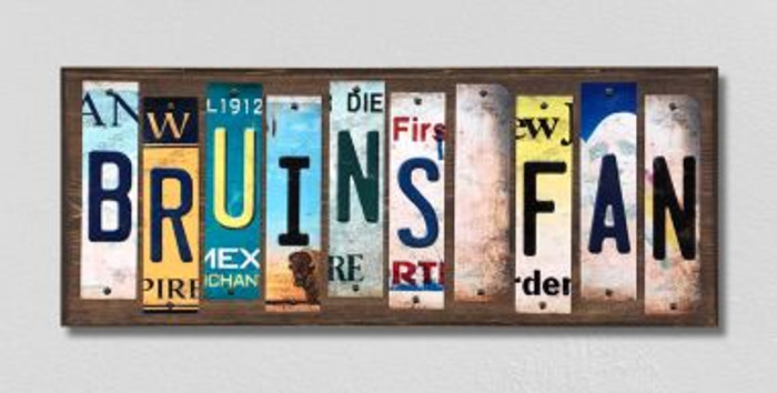 Bruins Fan Wholesale Novelty License Plate Strips Wood Sign WS-420
