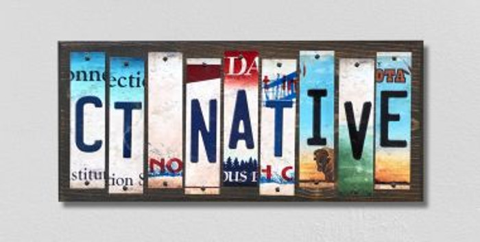 CT Native License Plate Strips Wholesale Novelty Wood Signs WS-508