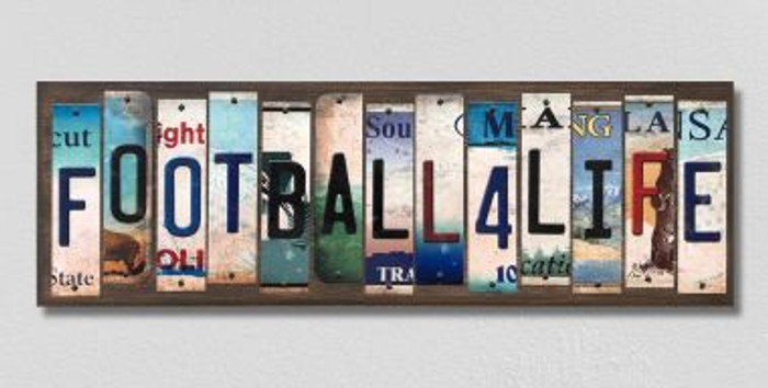 Football For Life Wholesale Novelty License Plate Strips Wood Sign WS-561