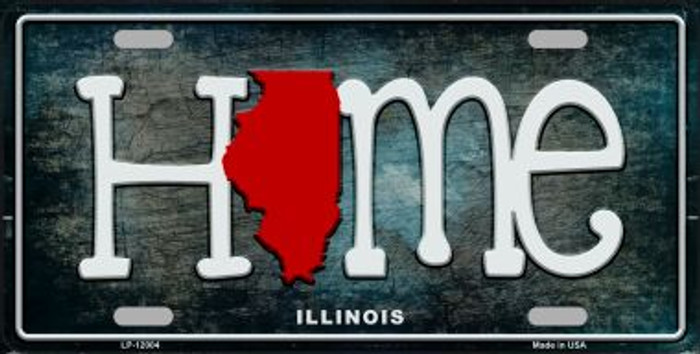 Illinois Home State Outline Wholesale Novelty License Plate LP-12004