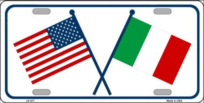 United States Italy Crossed Flags Wholesale Metal Novelty License Plate