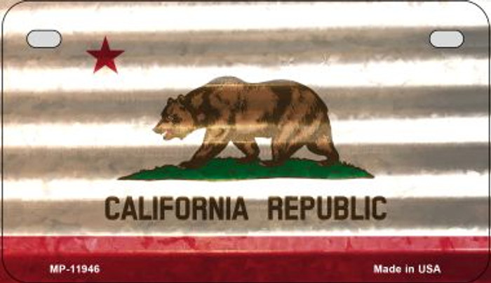 California Corrugated Flag Wholesale Novelty Motorcycle Plate MP-11946