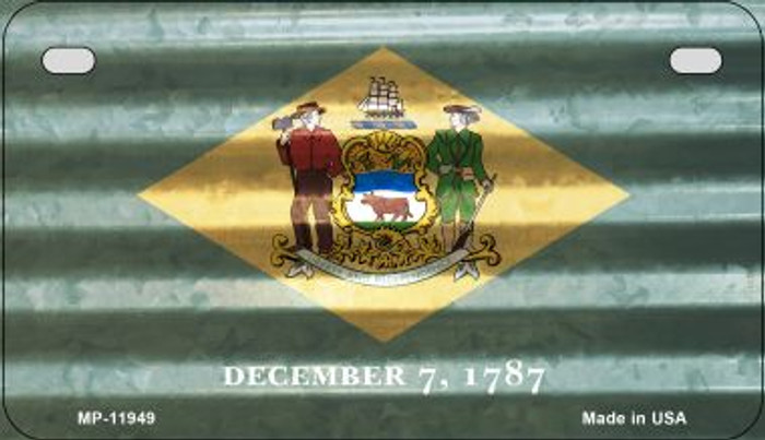 Delaware Corrugated Flag Wholesale Novelty Motorcycle Plate MP-11949