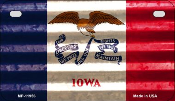 Iowa Corrugated Flag Wholesale Novelty Motorcycle Plate MP-11956