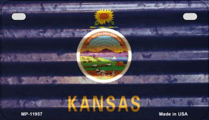 Kansas Corrugated Flag Wholesale Novelty Motorcycle Plate MP-11957