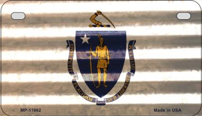Massachusetts Corrugated Flag Wholesale Novelty Motorcycle Plate MP-11962