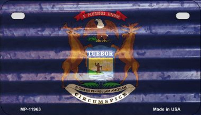 Michigan Corrugated Flag Wholesale Novelty Motorcycle Plate MP-11963