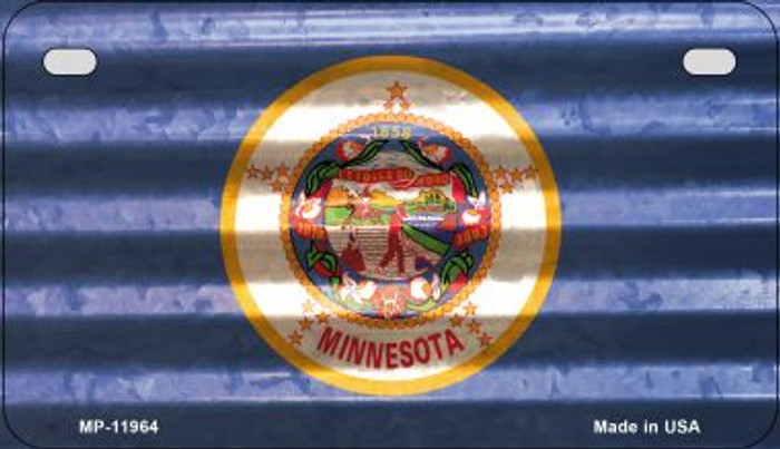 Minnesota Corrugated Flag Wholesale Novelty Motorcycle Plate MP-11964