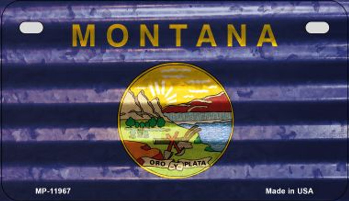 Montana Corrugated Flag Wholesale Novelty Motorcycle Plate MP-11967