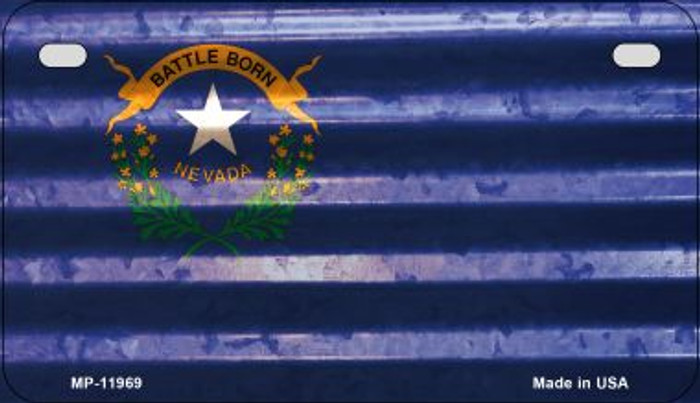 Nevada Corrugated Flag Wholesale Novelty Motorcycle Plate MP-11969