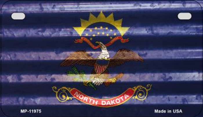 North Dakota Corrugated Flag Wholesale Novelty Motorcycle Plate MP-11975