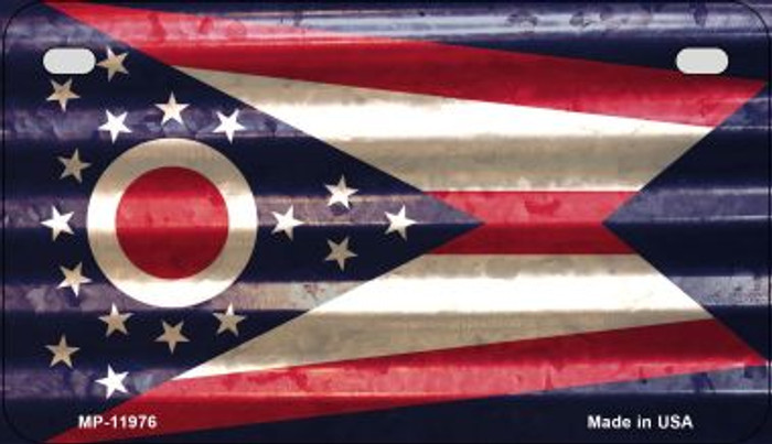 Ohio Corrugated Flag Wholesale Novelty Motorcycle Plate MP-11976