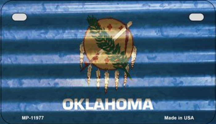Oklahoma Corrugated Flag Wholesale Novelty Motorcycle Plate MP-11977