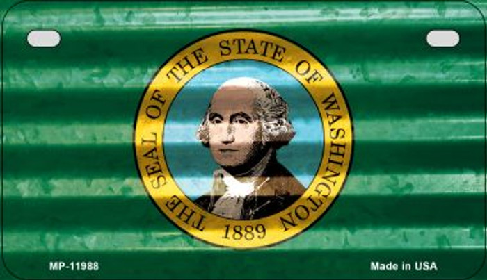 Washington Corrugated Flag Wholesale Novelty Motorcycle Plate MP-11988