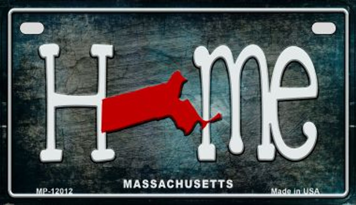 Massachusetts Home State Outline Wholesale Novelty Motorcycle Plate MP-12012