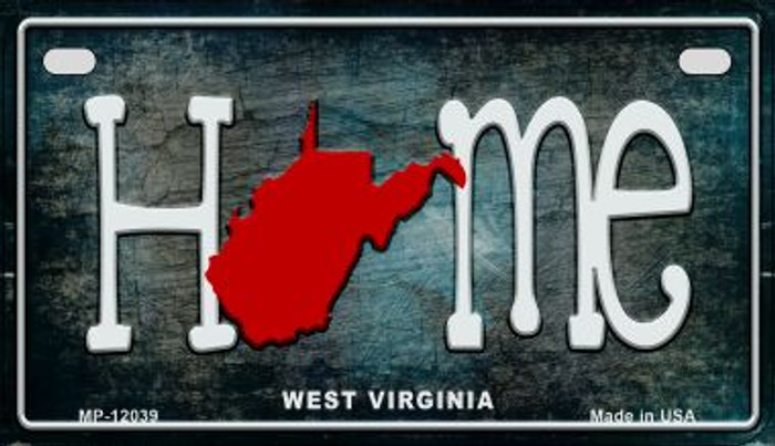 West Virginia Home State Outline Wholesale Novelty Motorcycle Plate MP-12039