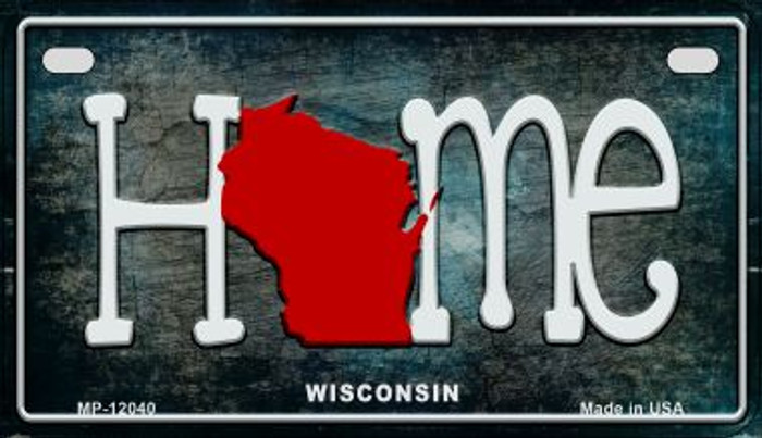 Wisconsin Home State Outline Wholesale Novelty Motorcycle Plate MP-12040