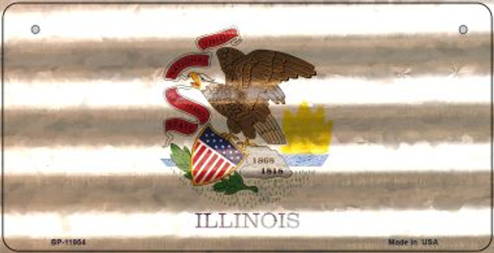 Illinois Corrugated Flag Wholesale Novelty Bicycle Plate BP-11954