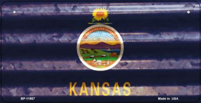 Kansas Corrugated Flag Wholesale Novelty Bicycle Plate BP-11957