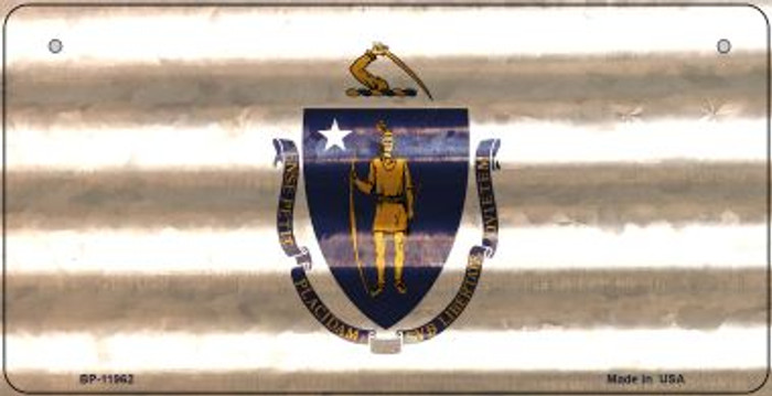 Massachusetts Corrugated Flag Wholesale Novelty Bicycle Plate BP-11962