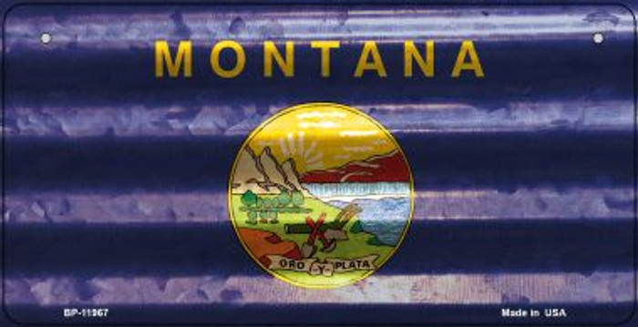Montana Corrugated Flag Wholesale Novelty Bicycle Plate BP-11967