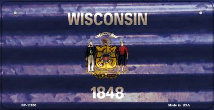 Wisconsin Corrugated Flag Wholesale Novelty Bicycle Plate BP-11990