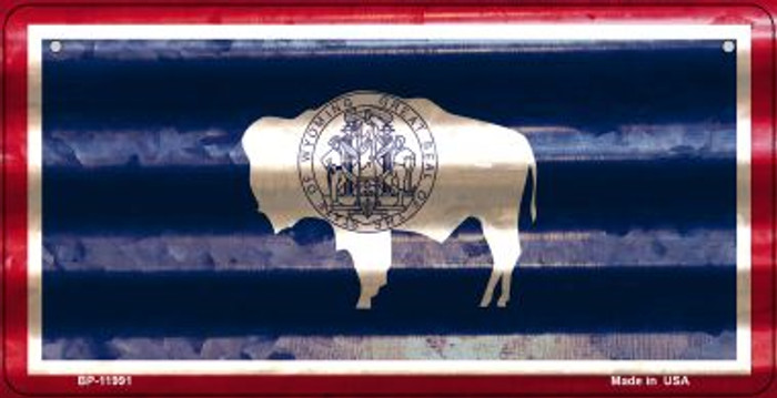 Wyoming Corrugated Flag Wholesale Novelty Bicycle Plate BP-11991