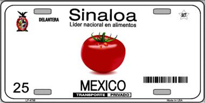Sinaloa Mexico Novelty Background Wholesale Metal License Plate LP-4790
