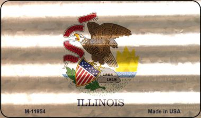 Illinois Corrugated Flag Wholesale Novelty Magnet M-11954