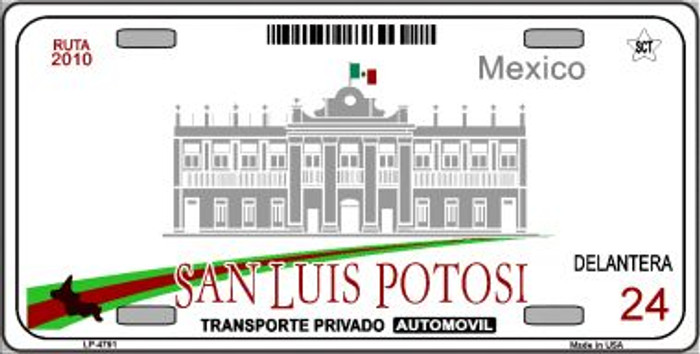 San Luis Potosi Mexico Novelty Background Wholesale Metal License Plate LP-4791