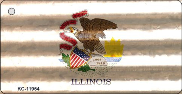 Illinois Corrugated Flag Wholesale Novelty Key Chain KC-11954