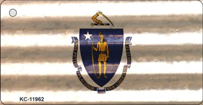 Massachusetts Corrugated Flag Wholesale Novelty Key Chain KC-11962