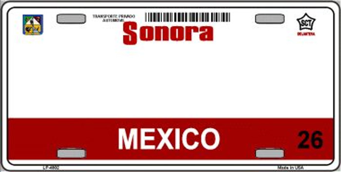 Sonora Mexico Novelty Background Wholesale Metal License Plate LP-4802