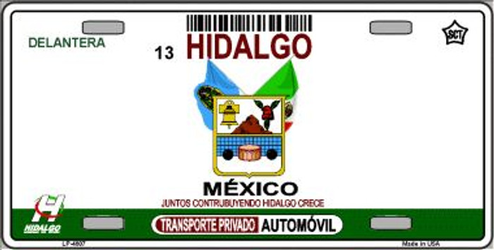 Hidalgo Mexico Novelty Background Wholesale Metal License Plate LP-4807