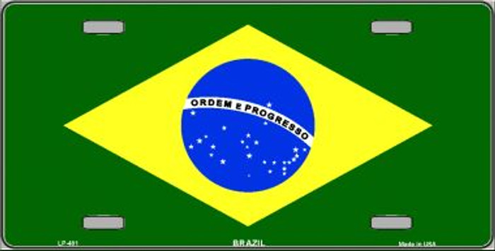 Brazil Flag Wholesale Metal Novelty License Plate LP-481