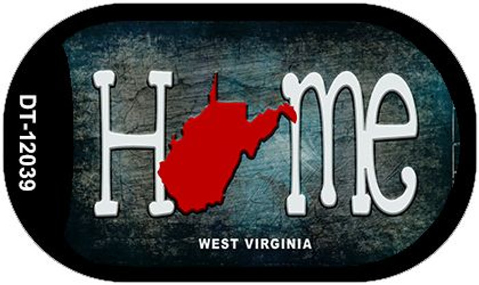 West Virginia Home State Outline Wholesale Novelty Dog Tag Necklace DT-12039
