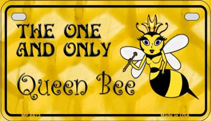 Queen Bee Yellow Wholesale Metal Novelty Motorcycle License Plate MP-6873