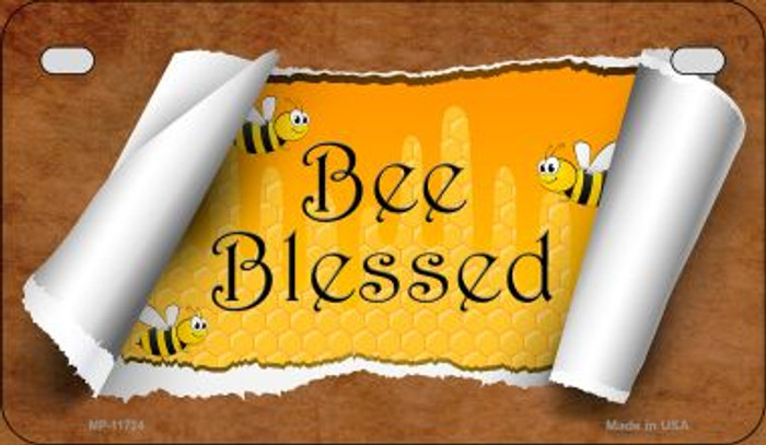Bee Blessed Scroll Wholesale Novelty Motorcycle License Plate MP-11724