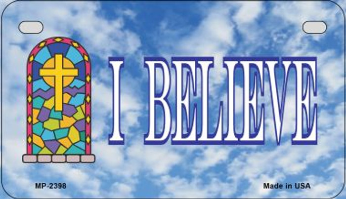 I Believe Wholesale Metal Novelty Motorcycle License Plate MP-2398