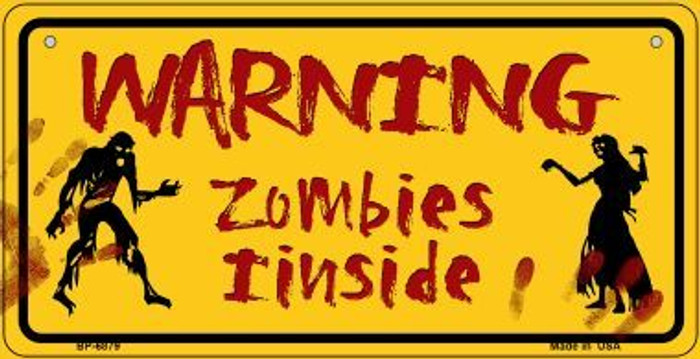 Warning Zombies Inside Novelty Wholesale Metal Bicycle License Plate BP-6879