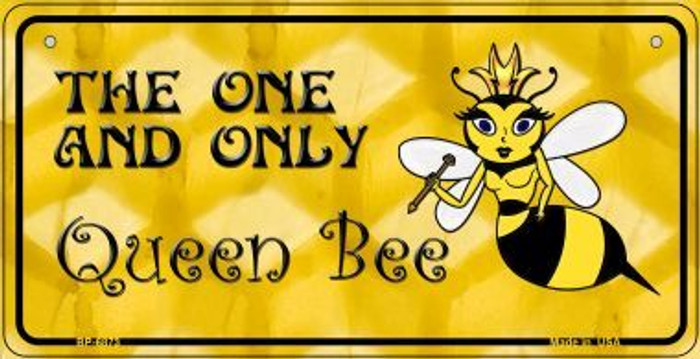 Queen Bee Yellow Wholesale Metal Novelty Bicycle License Plate BP-6873