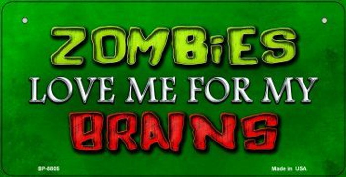 Zombies Love Me Wholesale Metal Novelty Bicycle License Plate BP-8805