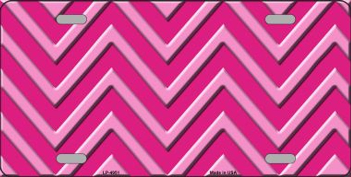 Pink Light Pink Chevron Monochromatic Wholesale Metal Novelty License Plate LP-4951
