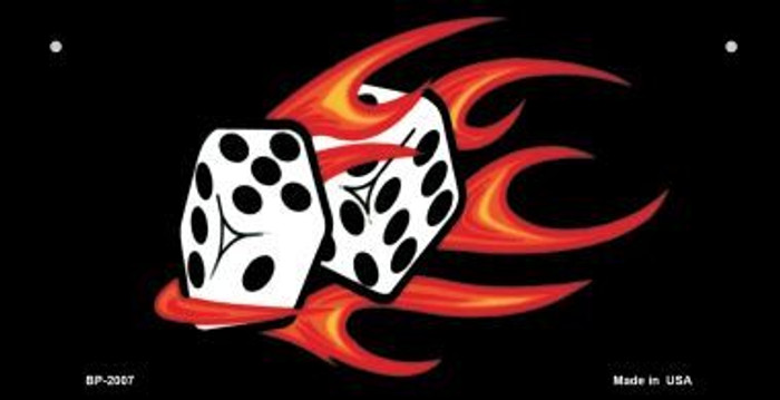 Red Hot Flaming Dice Wholesale Metal Novelty Bicycle License Plate BP-2007