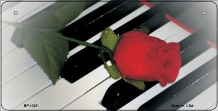 Piano Keys Red Rose Novelty Wholesale Metal Bicycle License Plate BP-1335